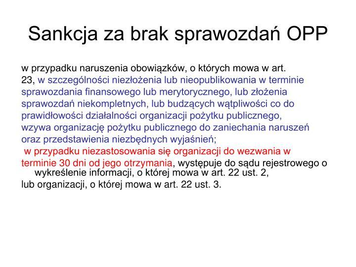 Sankcja za brak sprawozdań OPP