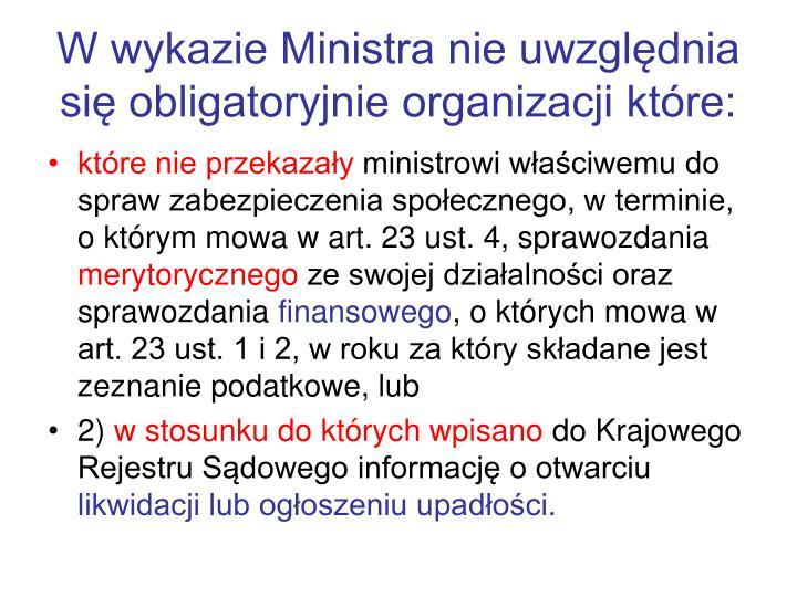 W wykazie Ministra nie uwzględnia się obligatoryjnie organizacji które: