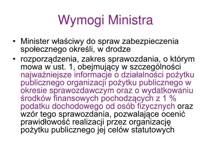 Wymogi Ministra