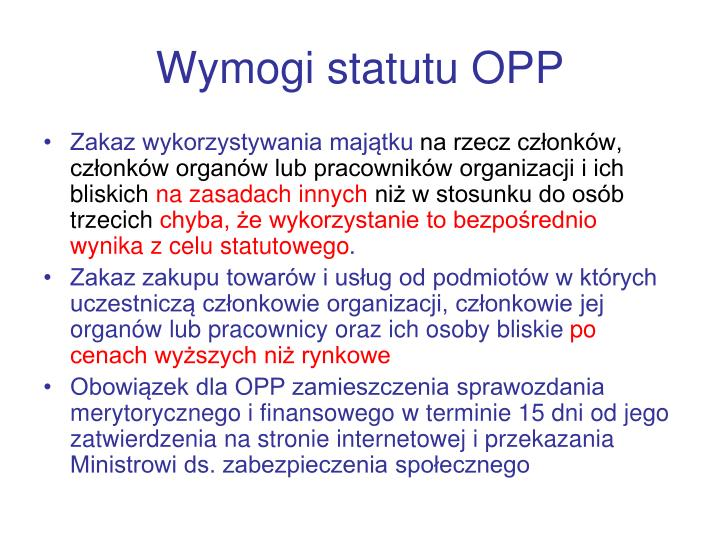 Wymogi statutu OPP