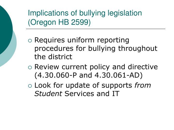 Implications of bullying legislation (Oregon HB 2599)