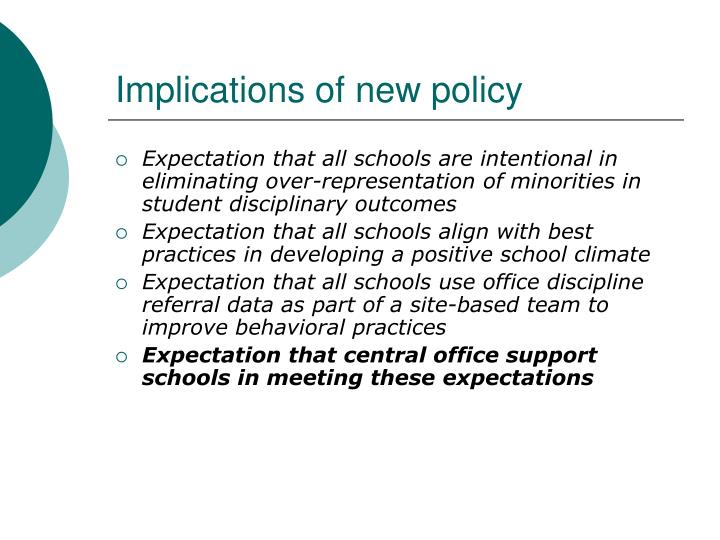 Implications of new policy