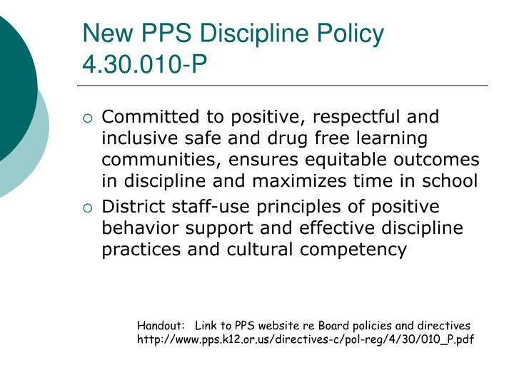 New PPS Discipline Policy 4.30.010-P