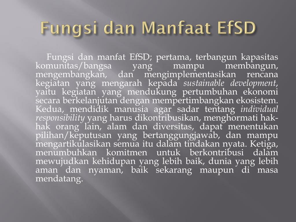 Fungsi dan Manfaat EfSD
