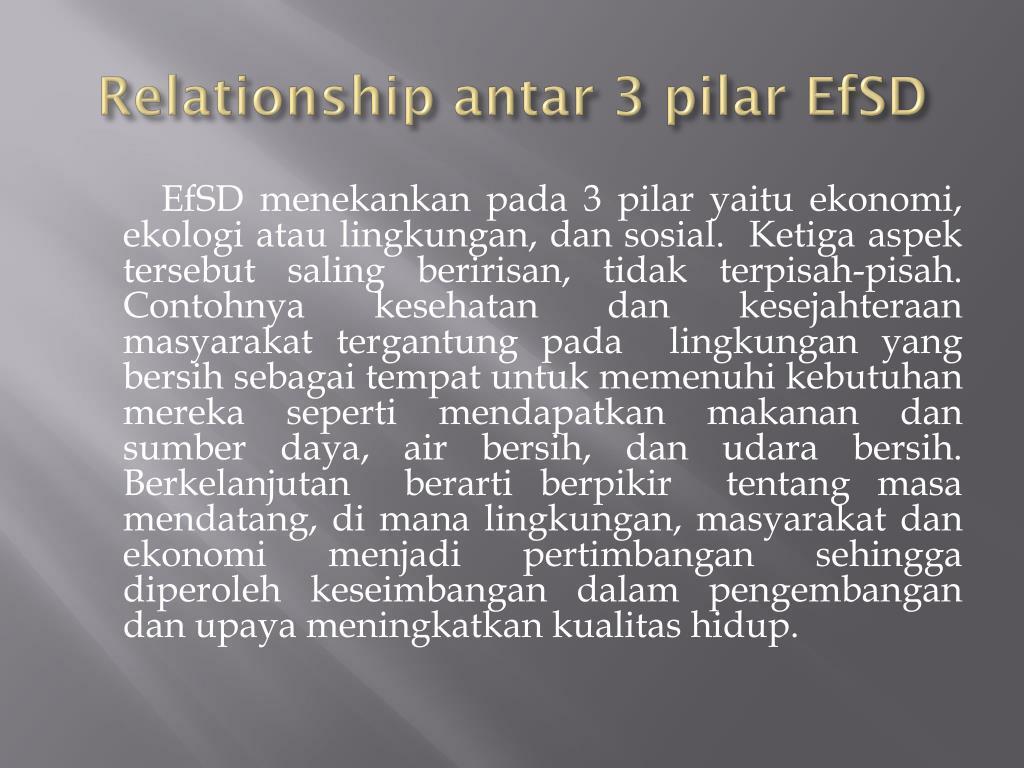 Relationship antar 3 pilar EfSD