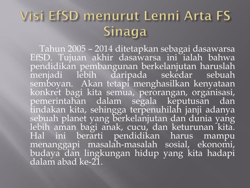 Visi EfSD menurut