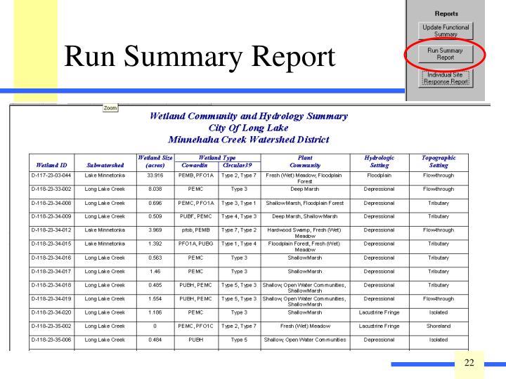 Run Summary Report