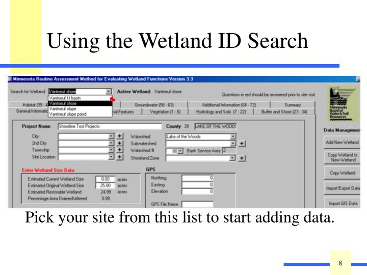 Pick your site from this list to start adding data.