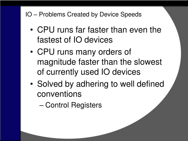 IO – Problems Created by Device Speeds
