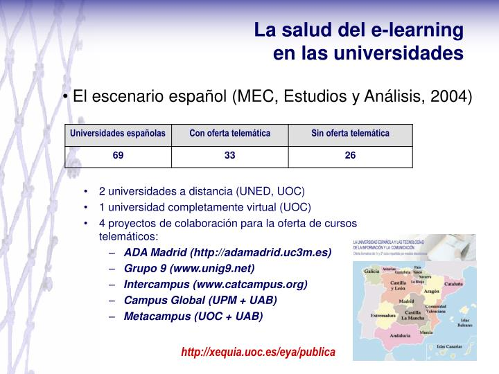 La salud del e-learning