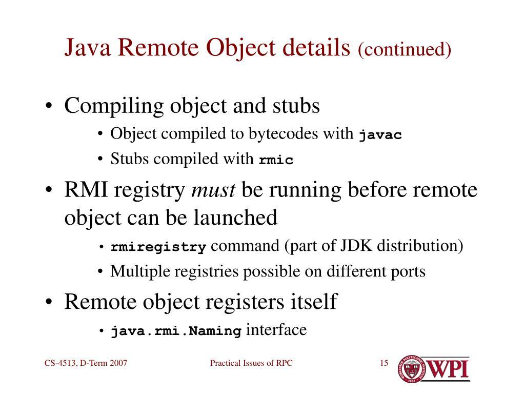 Java Remote Object details