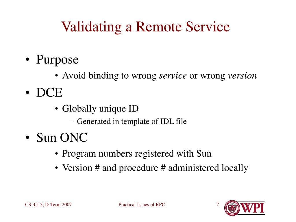 Validating a Remote Service