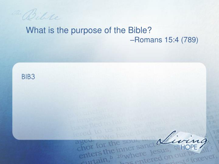 What is the purpose of the Bible?