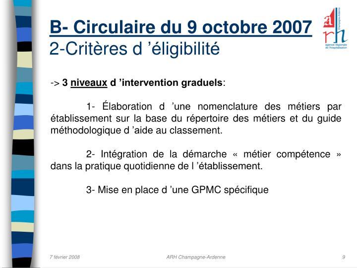 B- Circulaire du 9 octobre 2007