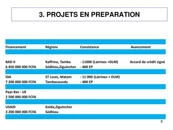 3. PROJETS EN PREPARATION