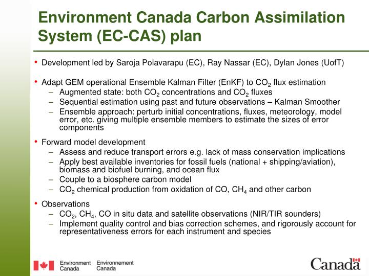Environment Canada Carbon Assimilation System (EC-CAS) plan