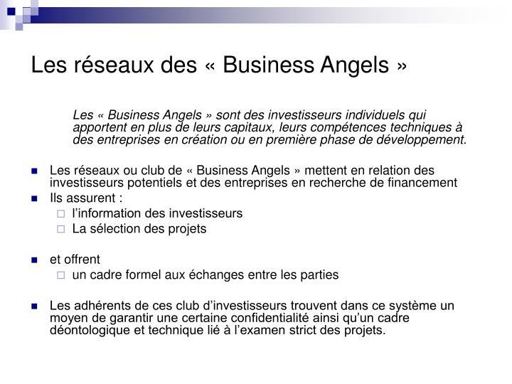 Les réseaux des «Business Angels »