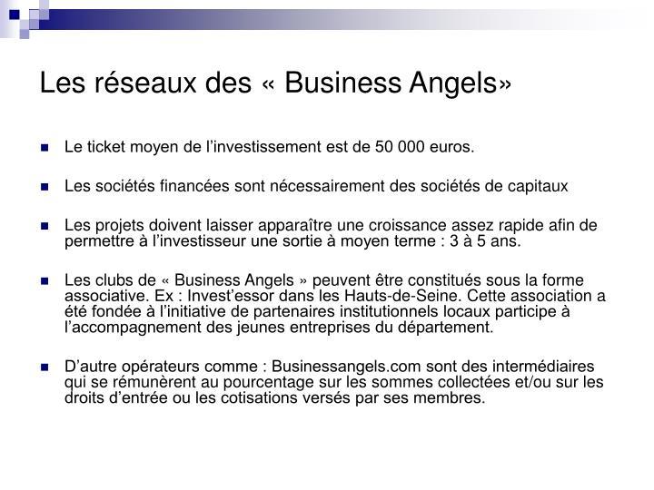 Les réseaux des «Business Angels»