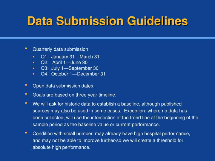 Data Submission Guidelines