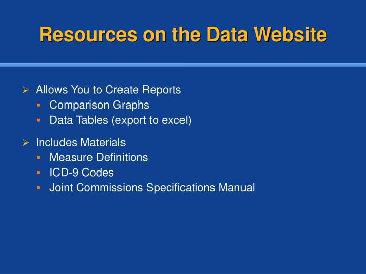 Resources on the Data Website