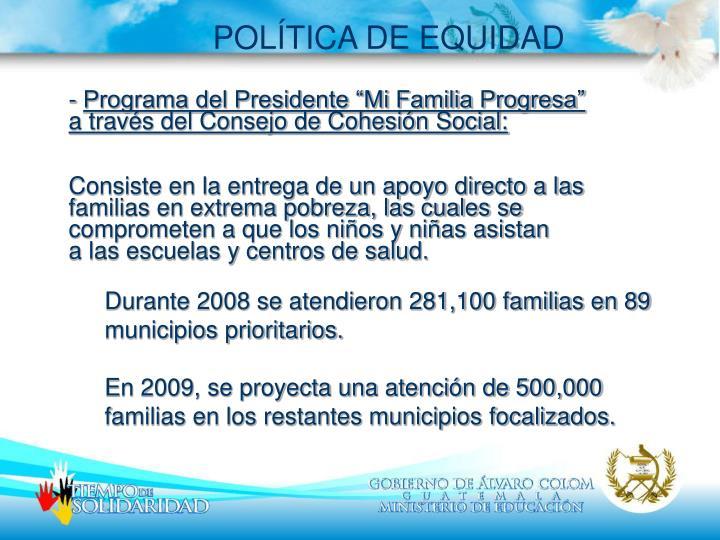 POLÍTICA DE EQUIDAD