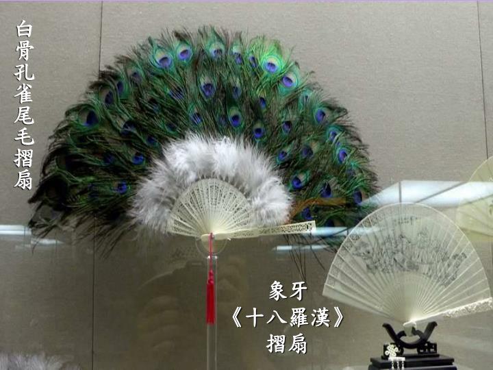 白骨孔雀尾毛摺扇