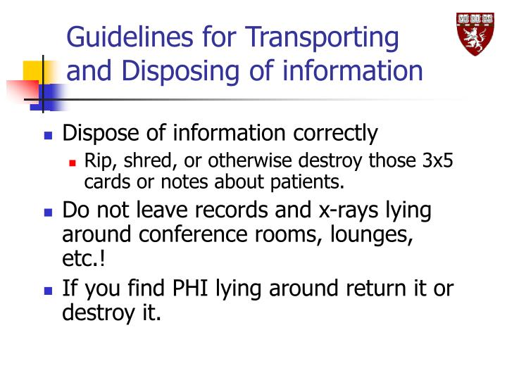 Guidelines for Transporting and Disposing of information