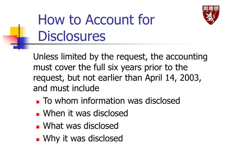 How to Account for Disclosures