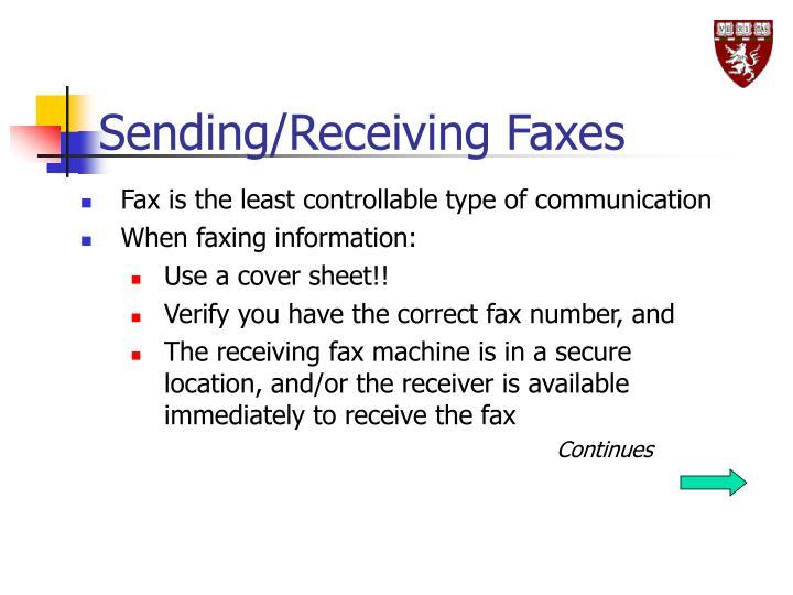 Sending/Receiving Faxes