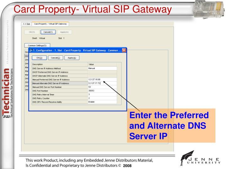 Card Property- Virtual SIP Gateway