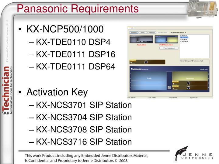 Panasonic Requirements