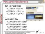 panasonic requirements1