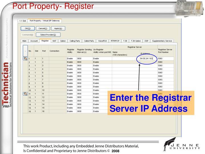 Port Property- Register