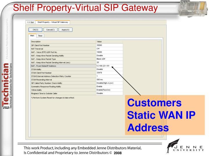 Shelf Property-Virtual SIP Gateway