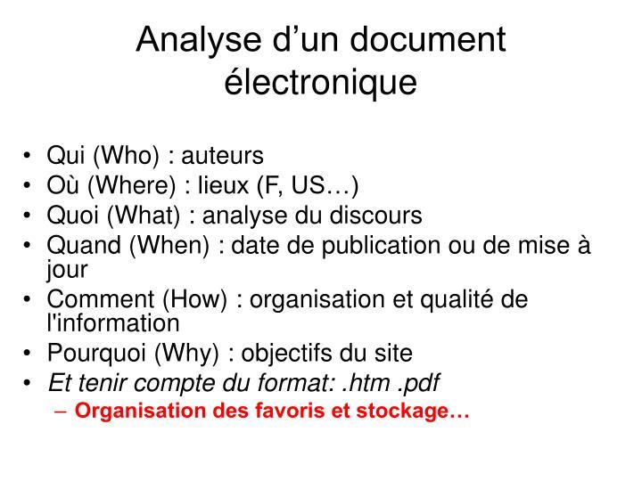 Analyse d'un document électronique