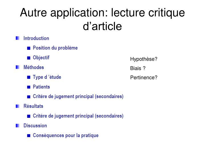 Autre application: lecture critique d'article