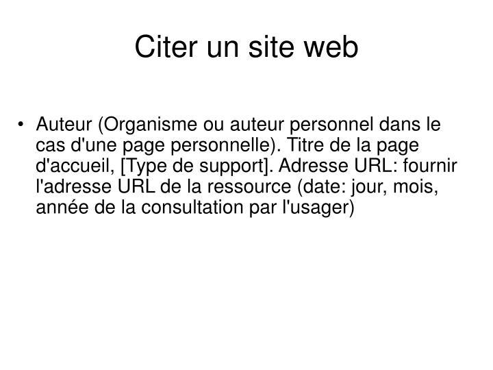 Citer un site web