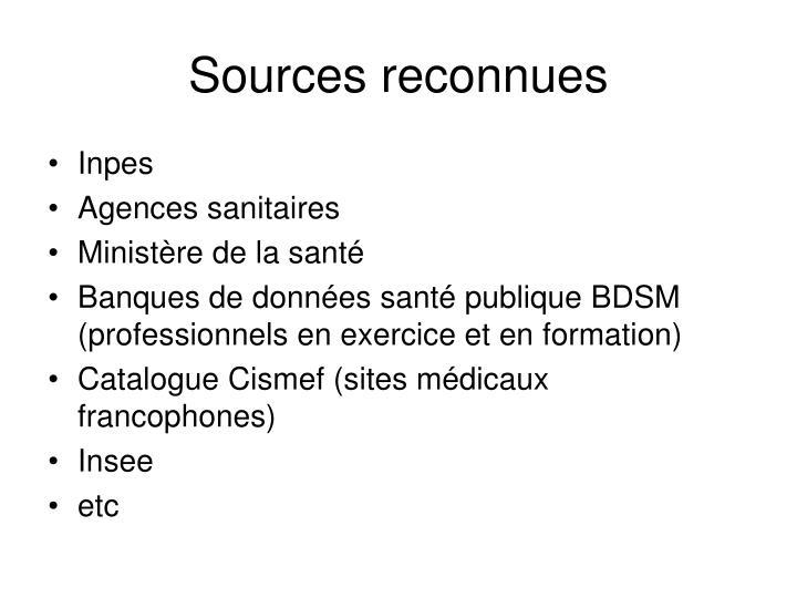 Sources reconnues