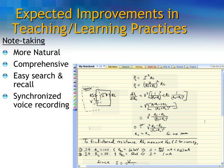 Expected Improvements in Teaching/Learning Practices