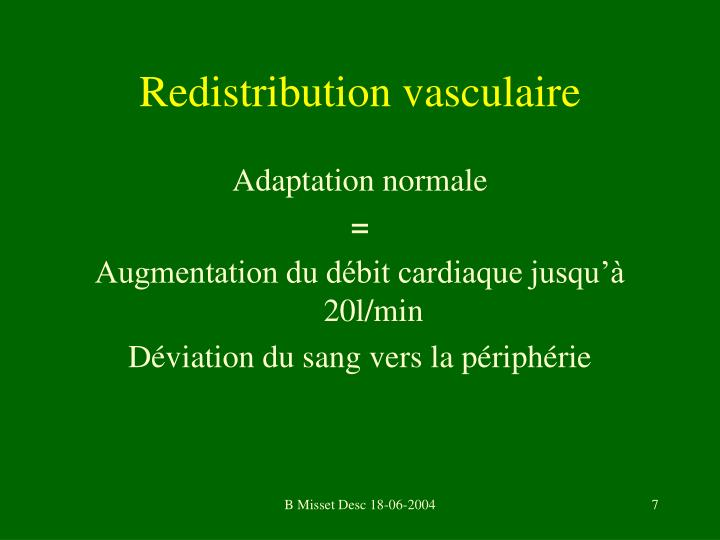 Redistribution vasculaire