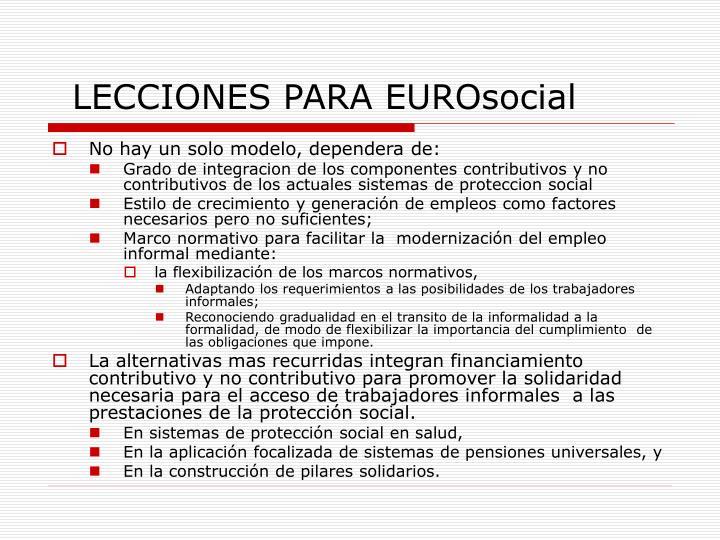 LECCIONES PARA EUROsocial