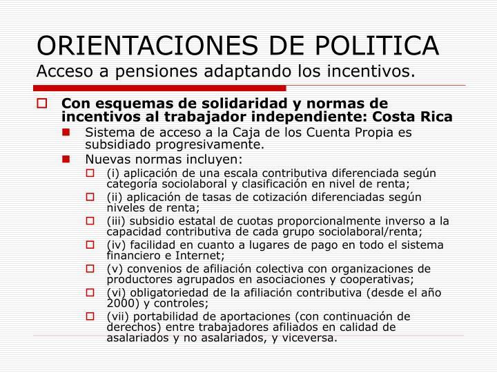 ORIENTACIONES DE POLITICA