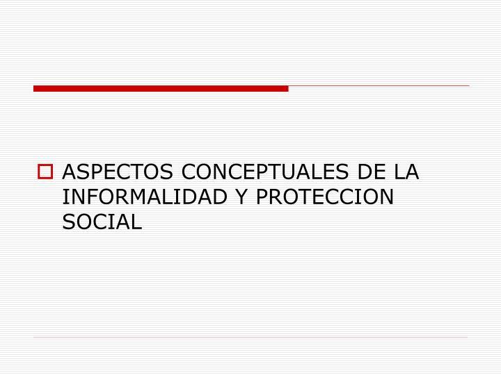 ASPECTOS CONCEPTUALES DE LA INFORMALIDAD Y PROTECCION SOCIAL