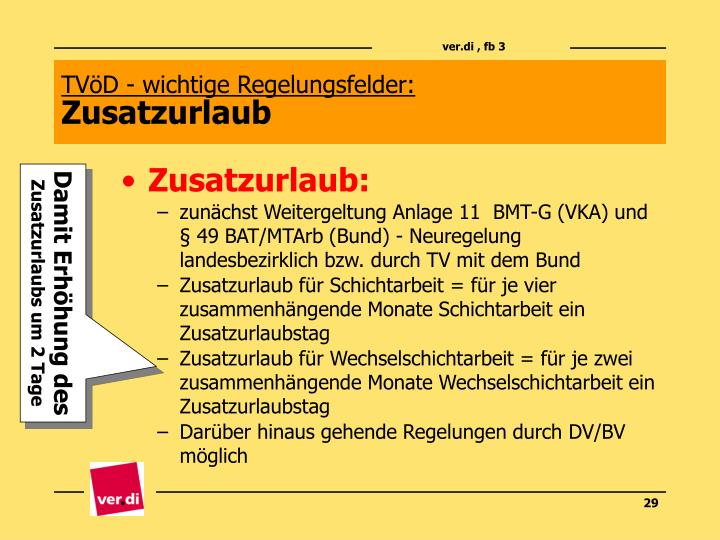 TVöD - wichtige Regelungsfelder: