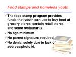 food stamps and homeless youth