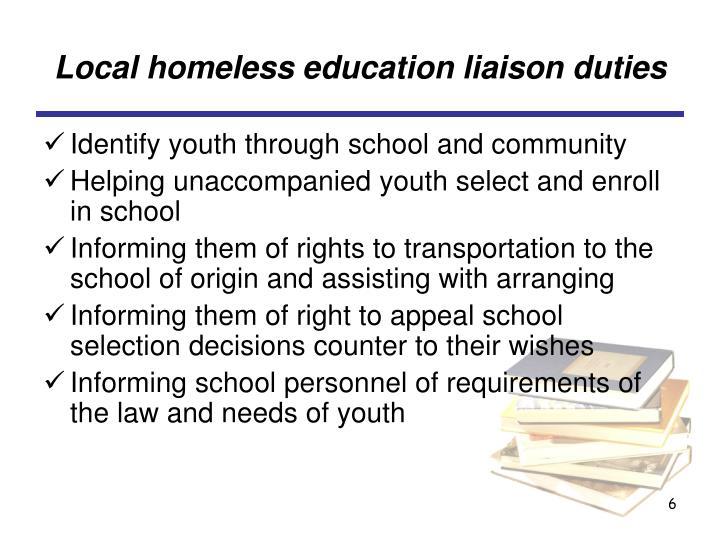 Local homeless education liaison duties