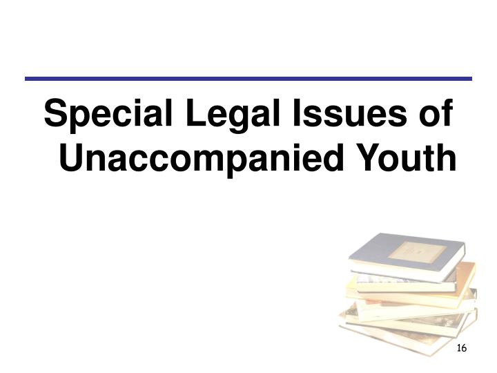 Special Legal Issues of Unaccompanied Youth