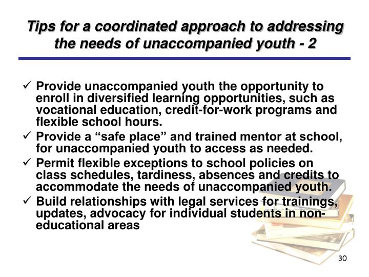 Tips for a coordinated approach to addressing the needs of unaccompanied youth - 2