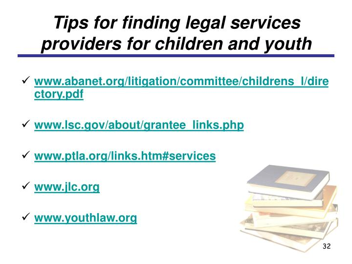 Tips for finding legal services providers for children and youth