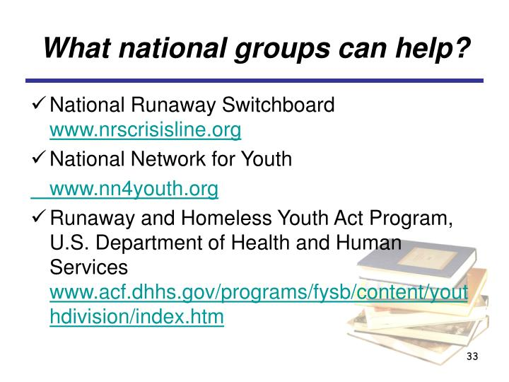 What national groups can help?
